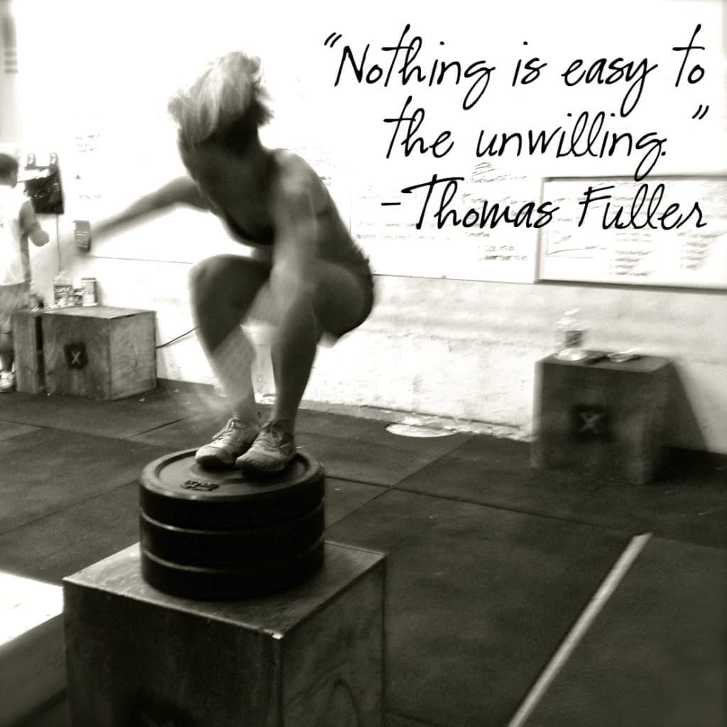 black and white image of woman jumping on box with quote about mental fortitude superimposed