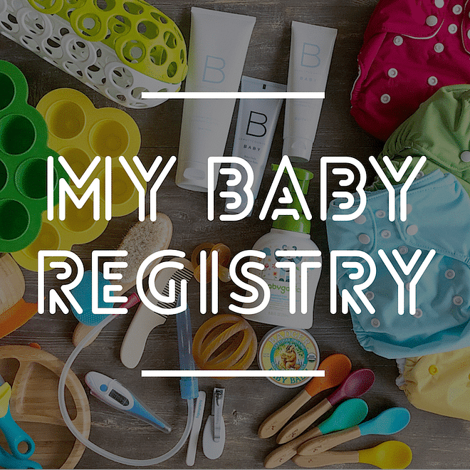 "image of baby products with ""my baby registry"" written on top"