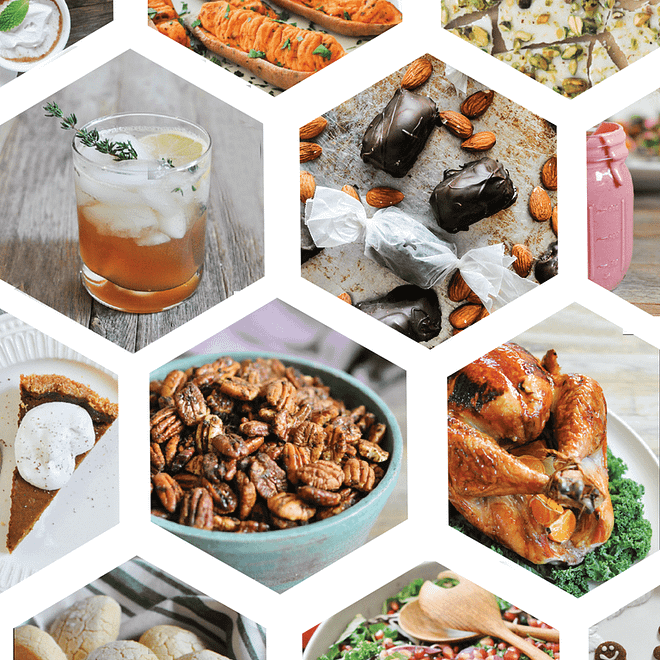 hexagonal design with multiple pictures of holiday food in the hexagons