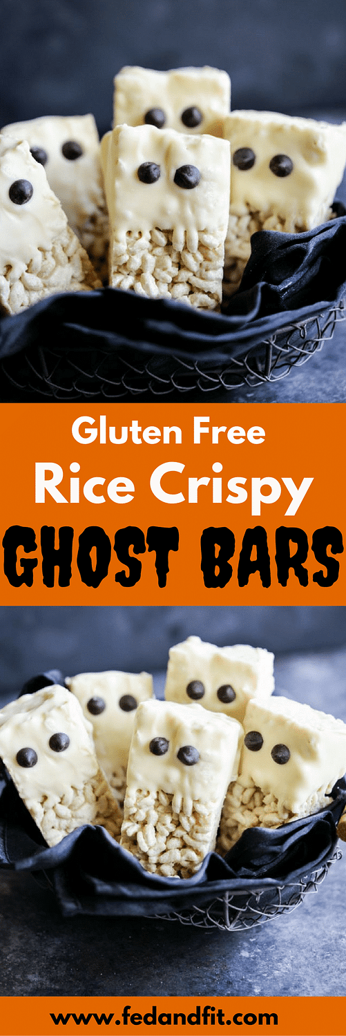 These gluten free rice krispie ghost bars are the perfect cute and festive Halloween dessert that are easy to make and guaranteed to be a hit at your Halloween party or as a surprise spooky treat in your kid's lunchbox!
