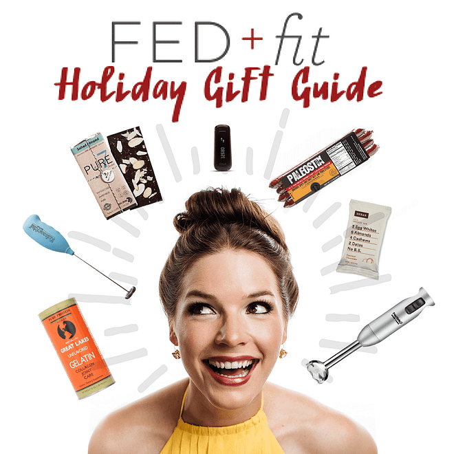 fed & fit holiday gift guide woman with brown hair in a bun with multiple gifts around her head