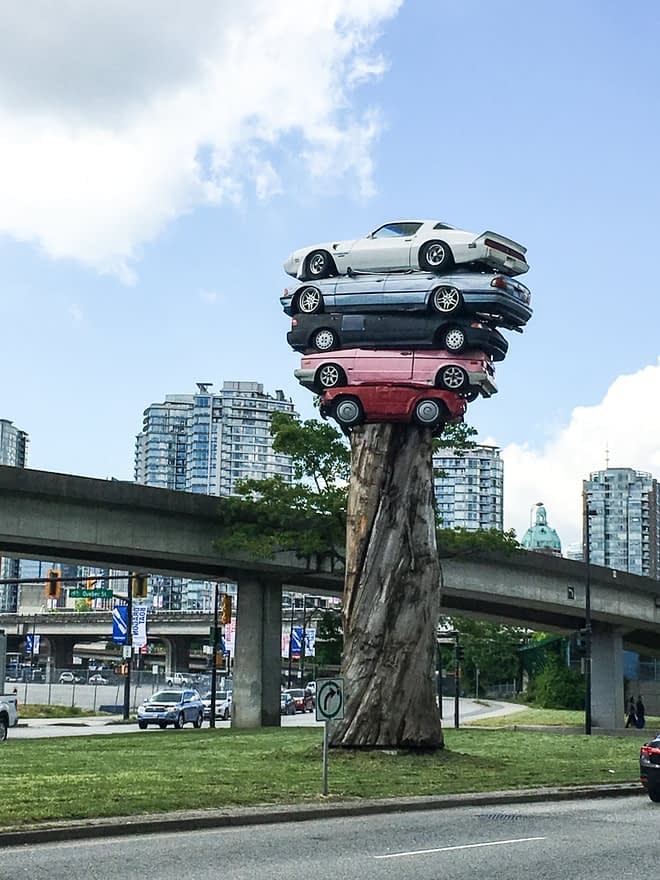 art installation with three cars in Vancouver
