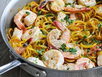 Paleo Shrimp Scampi with beet noodles