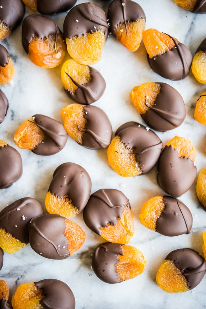 chocolate dipped apricot bites