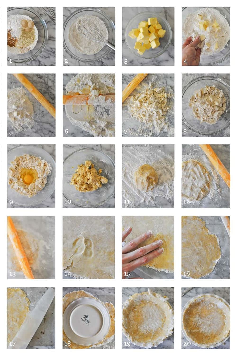 homemade gluten free Pie Crust Two Ways step by step image grid
