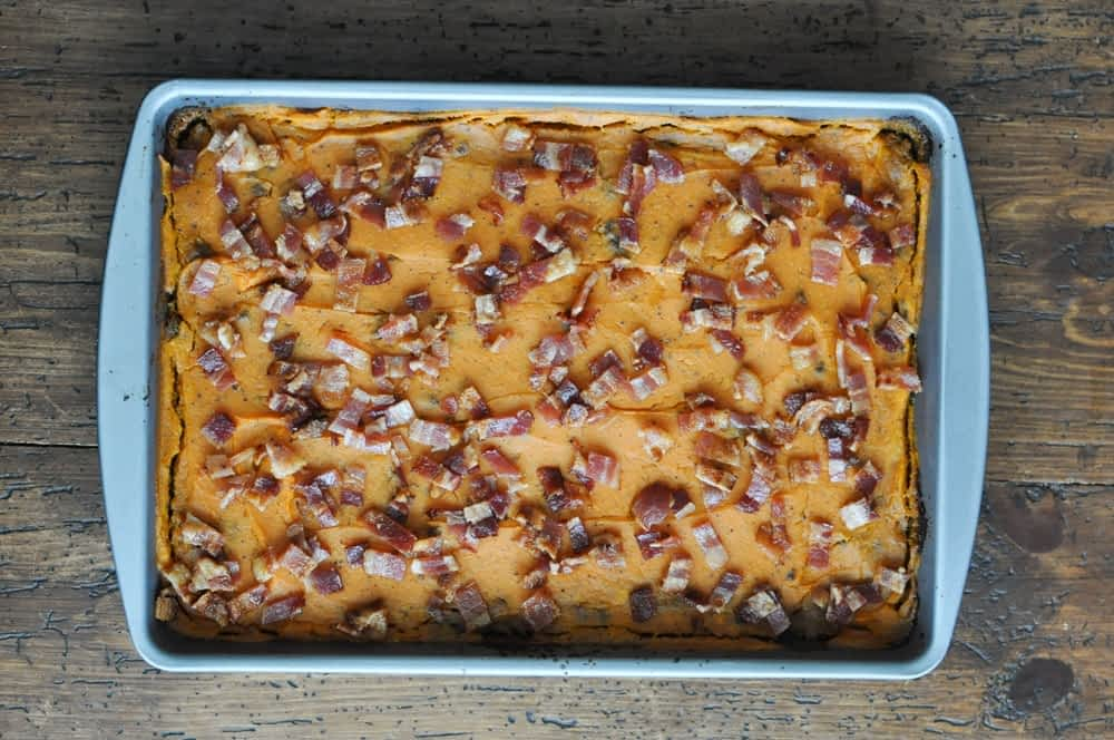 four layer beef and bacon casserole