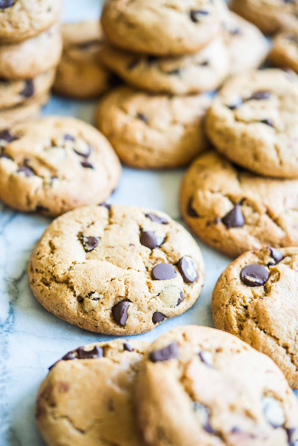 almond flour chocolate chip cookies on a marble board