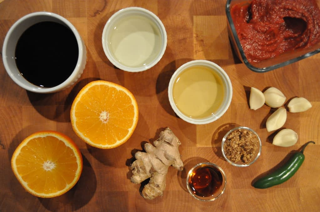 overhead view of ingredients for Chinese braised short ribs glaze