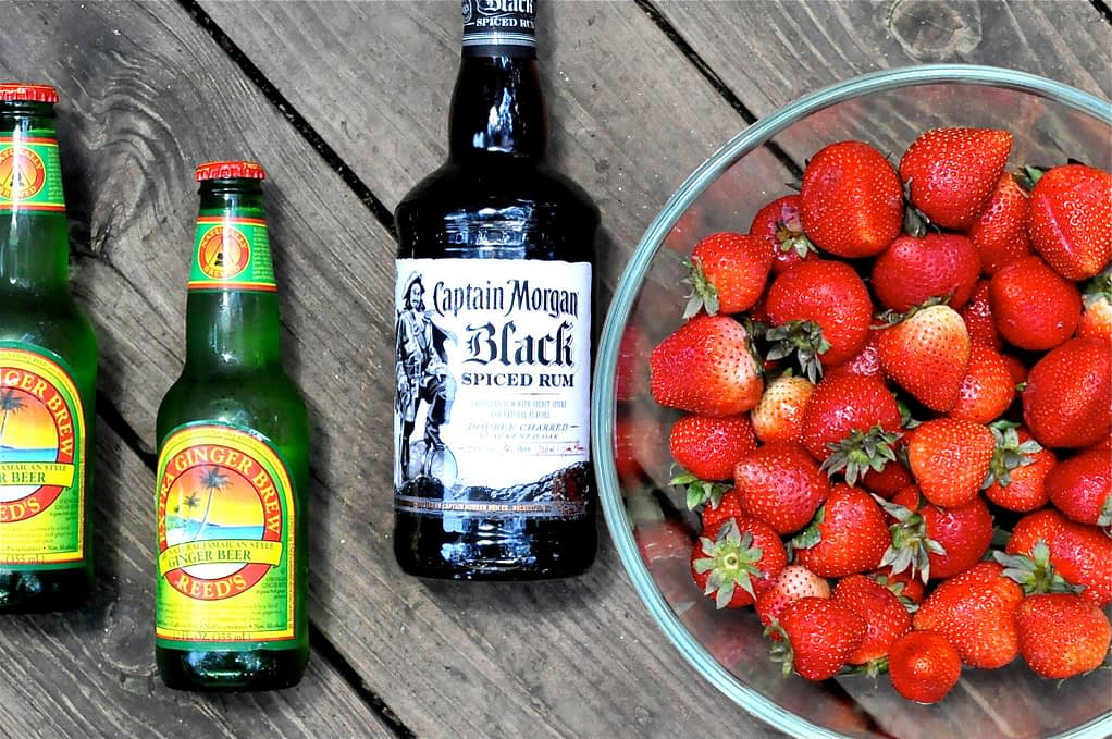 Strawberry Dark and Stormy ingredients