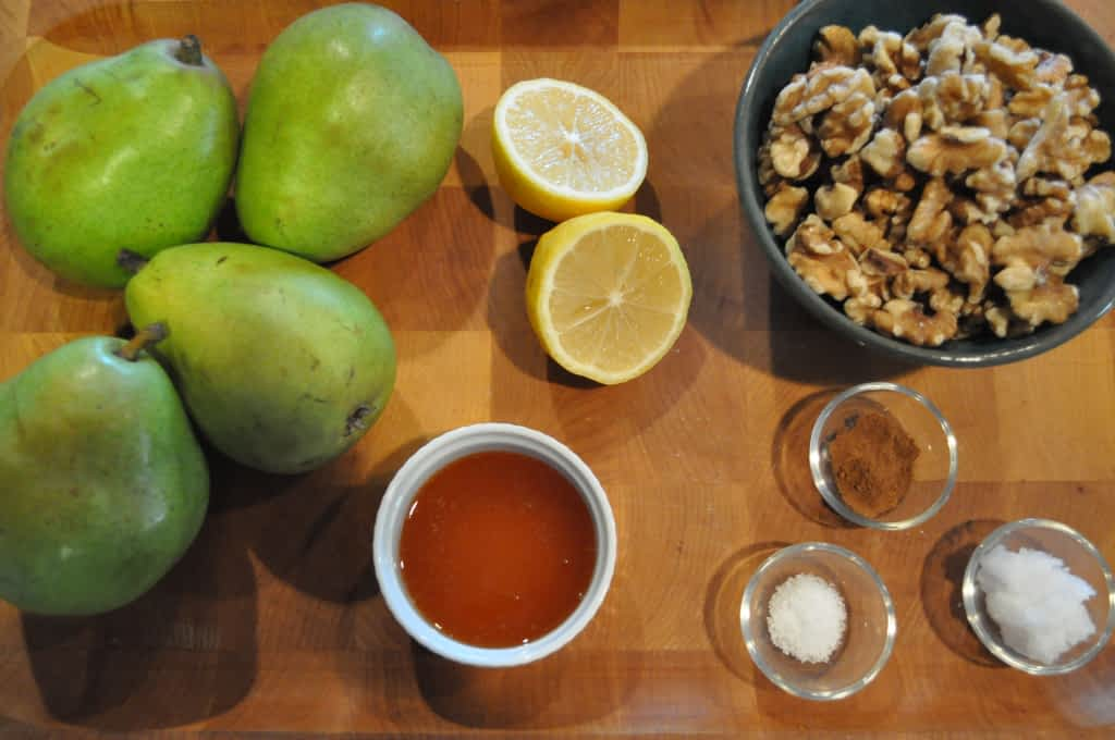 ingredients for paleo pear tart