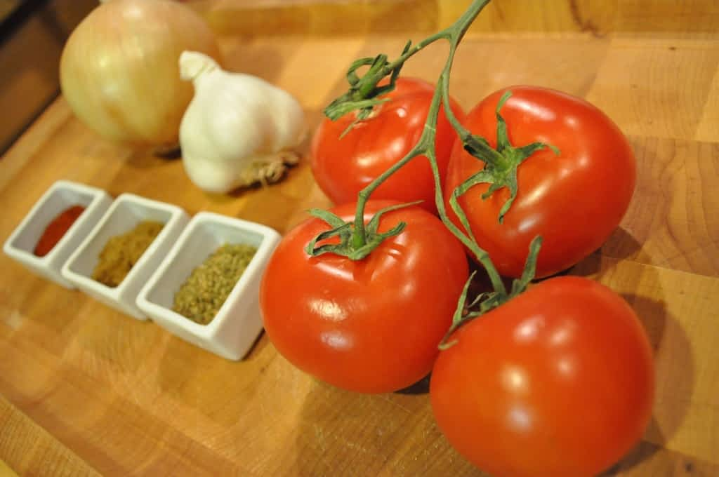 tomatoes and spices for paleo Chile relleno