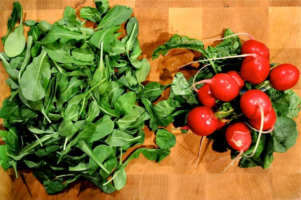 greens and radishes