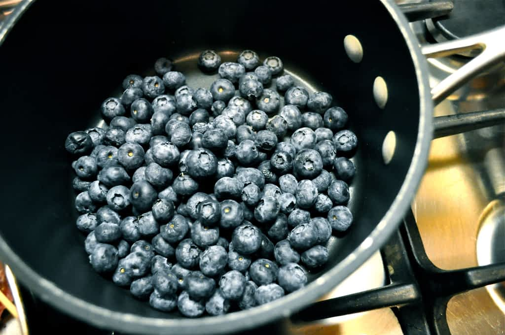 blueberries in a pot on the stove