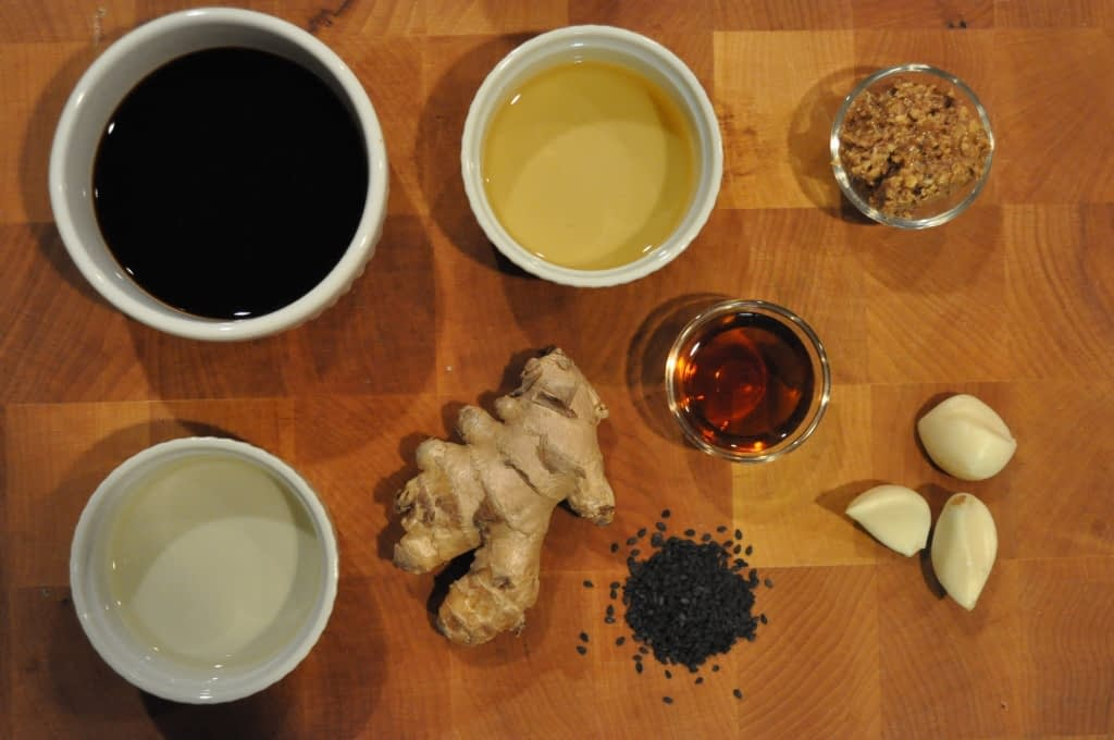 overhead view of ingredients for slaw dressing