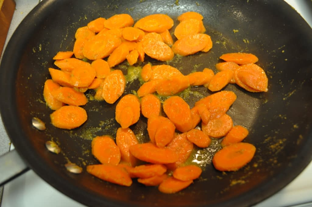 cumin lime carrots in a skillet