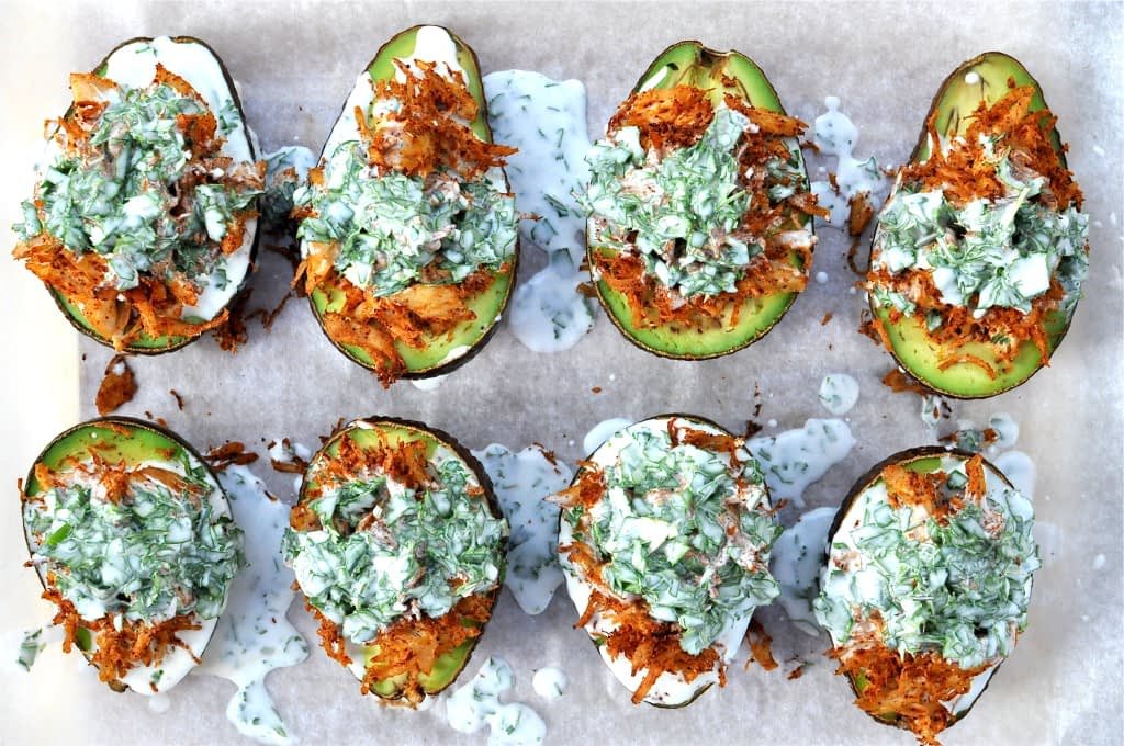 Paleo Stuffed Avocados with Cilantro Lime Cream Sauce