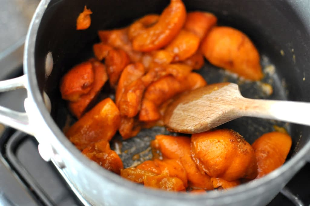 apricots in a pan