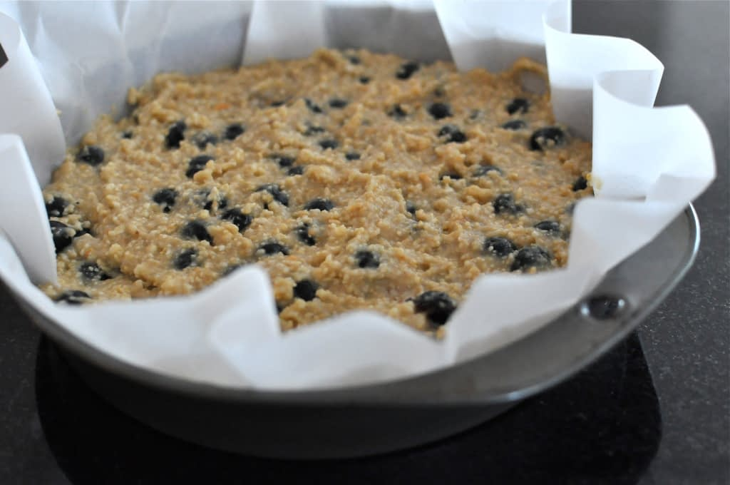 Paleo Blueberry Scone batter in a cake pan