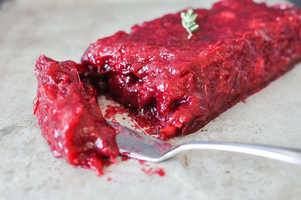 loaf of easy homemade paleo cranberry sauce
