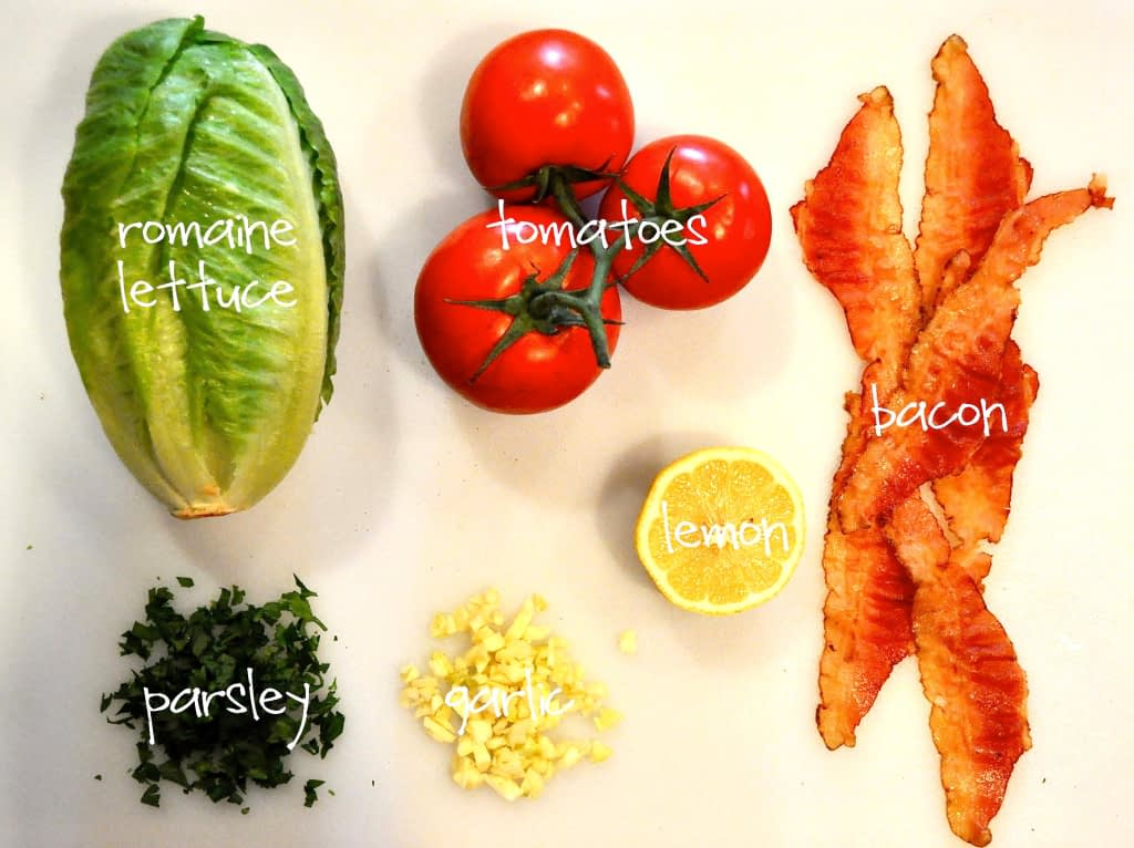 ingredients for paleo grilled romaine and bacon salad