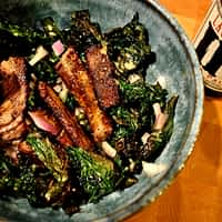 crispy kale and steak salad with a pale ale dijon dressing