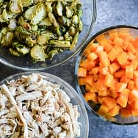 Shredded Chicken, Butternut Squash, and Roasted Brussels Sprouts meal prep