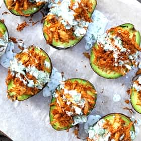 Paleo Stuffed Avocados with Cilantro Cream Sauce