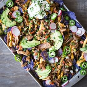 Loaded Carnitas Trash Can Lid Nachos