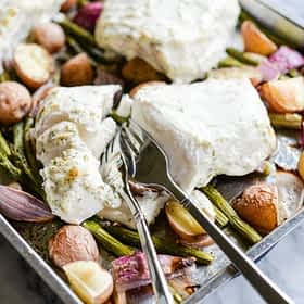 Baked Halibut Sheet Pan Dinner