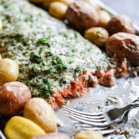 Herb Crusted Salmon & Potato Bake