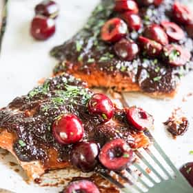 Salmon with Sweet Cherry BBQ Sauce