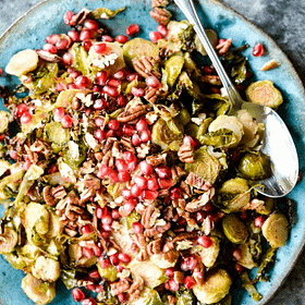 Roasted Pomegranate Brussels Sprouts Slaw