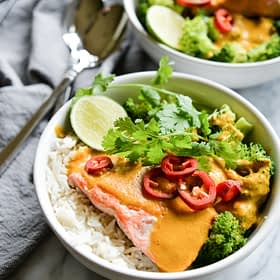 Yellow Curry Salmon Bowls