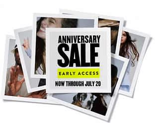 multiple photos of women in fashionable clothing with text that reads anniversary sale early access now through July 20