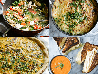 grid of 4 thanksgiving leftover recipes