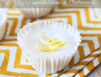 one white lemon vanilla meltways with lemon zest and yellow napkin