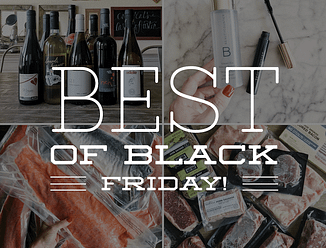 "slightly darkened quadrant images of wine, beauty products, frozen salmon, and frozen beef with the words ""best of Black Friday"" imposed on top"