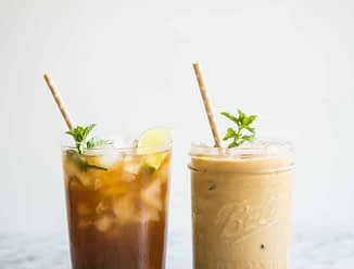 mint iced coffee and texas iced tea with mint simple syrup