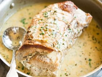 Herbed Goat Cheese Stuffed Pork Loin