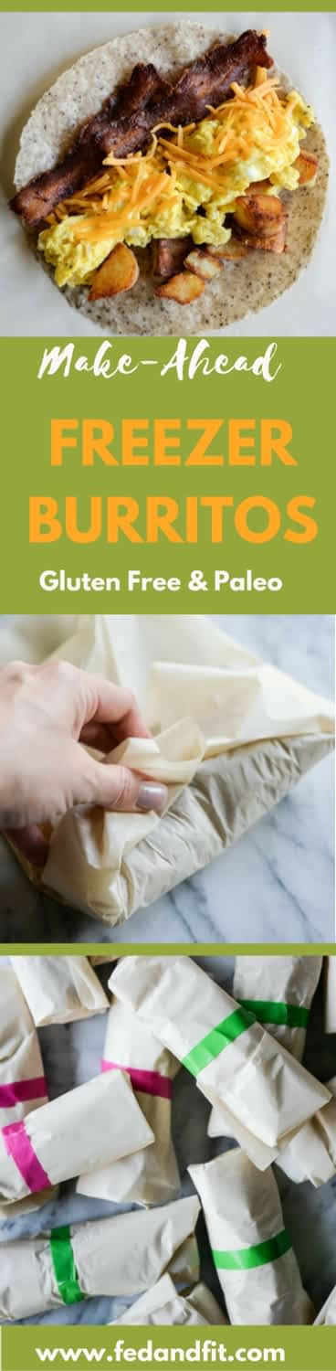 These make ahead freezer burritos are the perfect option for rushed mornings when getting breakfast on the table is a challenge! These breakfast burritos have gluten free and Paleo options and step-by-step instructions.   Fed & Fit