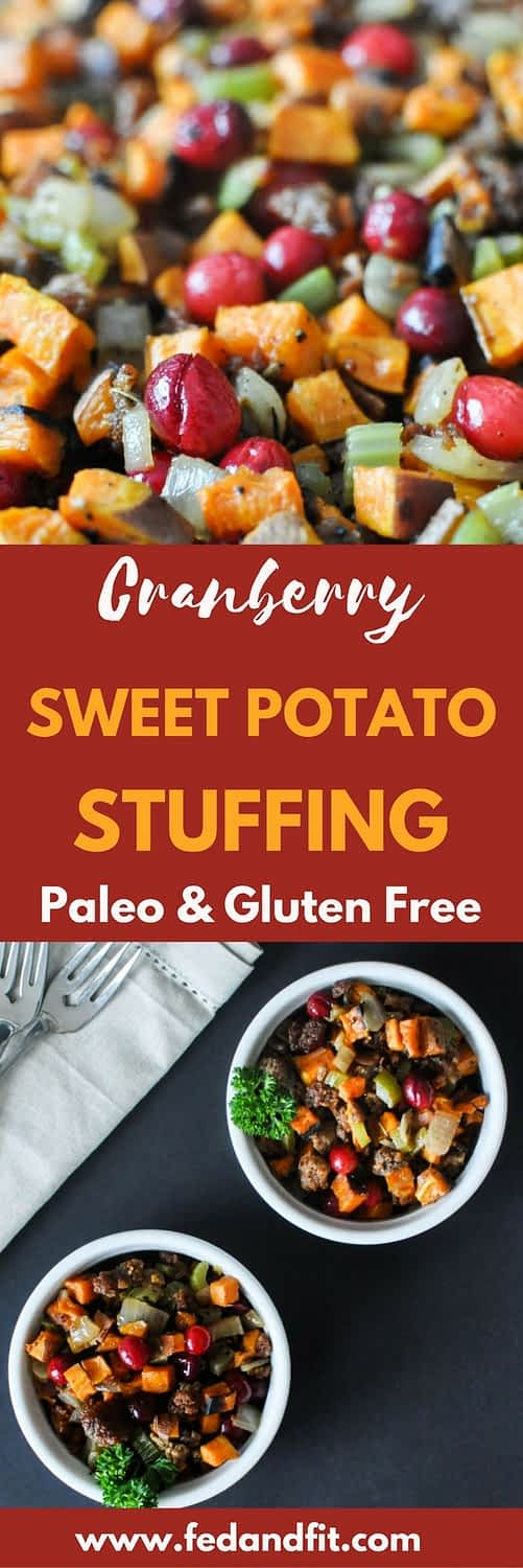 This cranberry sweet potato stuffing is the perfect Paleo addition to your table this Thanksgiving!