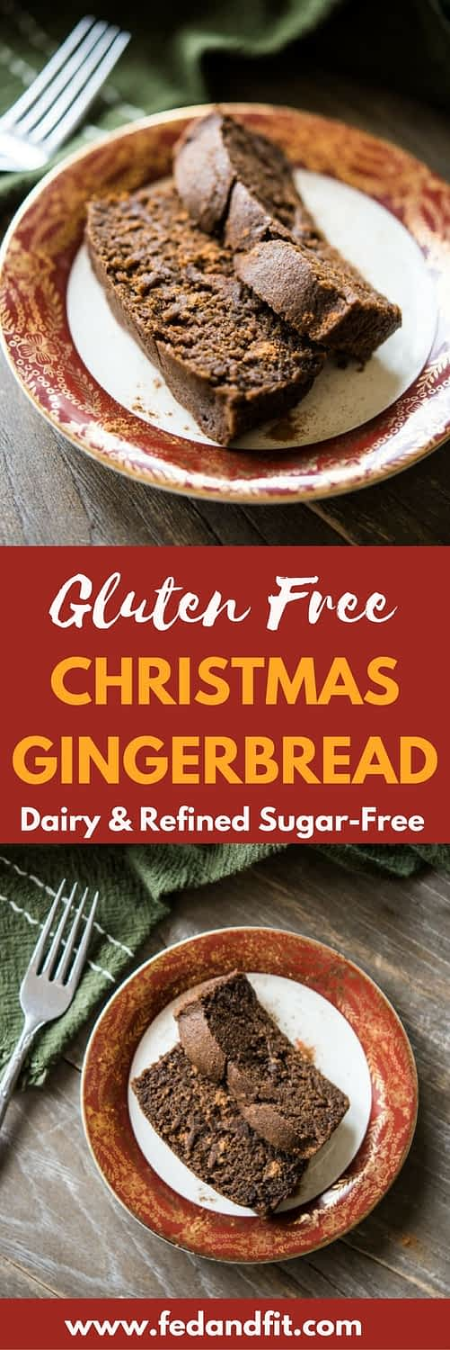 This gluten free gingerbread loaf is spiced perfectly with ginger and molasses, and would make a perfect treat for Christmas morning or seasonal cookie gifting!