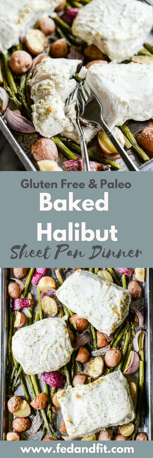This baked halibut sheet pan dinner features potatoes, red onion, and asparagus for a full meal that's quick and easy to make!