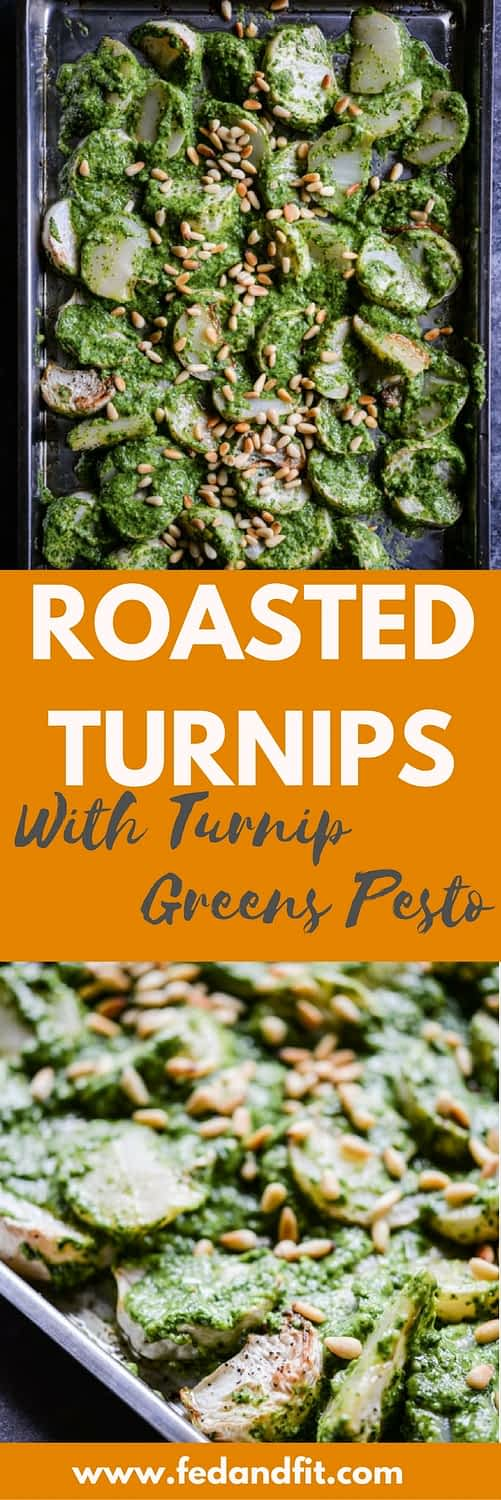 Take plain roasted turnips to the next level by tossing them in this lemon & garlic turnip greens pesto for a new spin on the classic root vegetable! | Fed & Fit