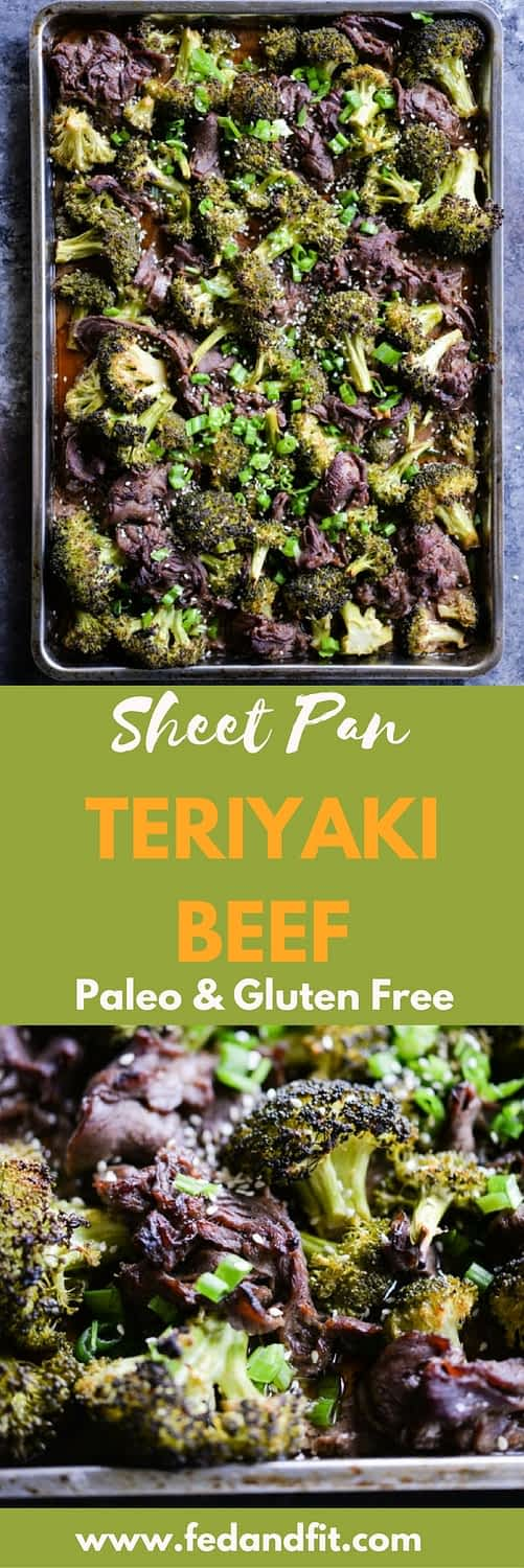 This Teriyaki beef sheet pan dinner combines thinly sliced beef & broccoli with a Paleo and gluten free marinade that bakes up in 30 minutes for an easy way to get an Asian-inspired meal on the table!
