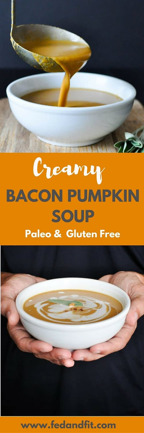 This Paleo Bacon Pumpkin Soup is totally dairy free and made creamy with coconut milk. It is the perfect healthy and comforting winter meal that still feels indulgent!