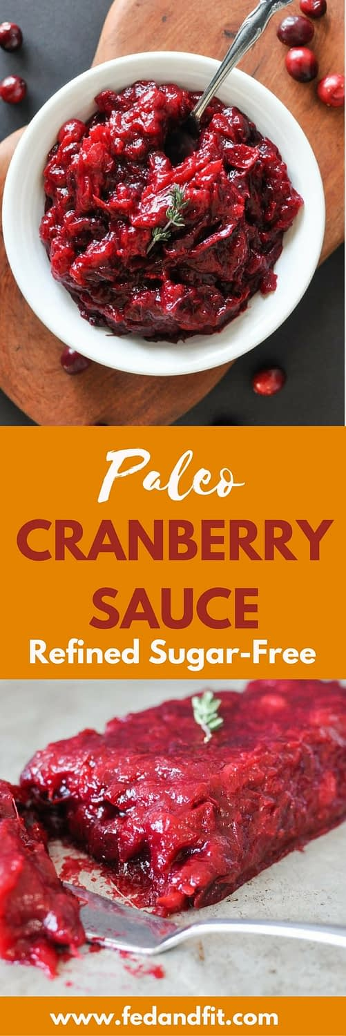 This Paleo Cranberry Sauce comes together quickly and is free of refined sugar and sweetened simply with honey and oranges instead!