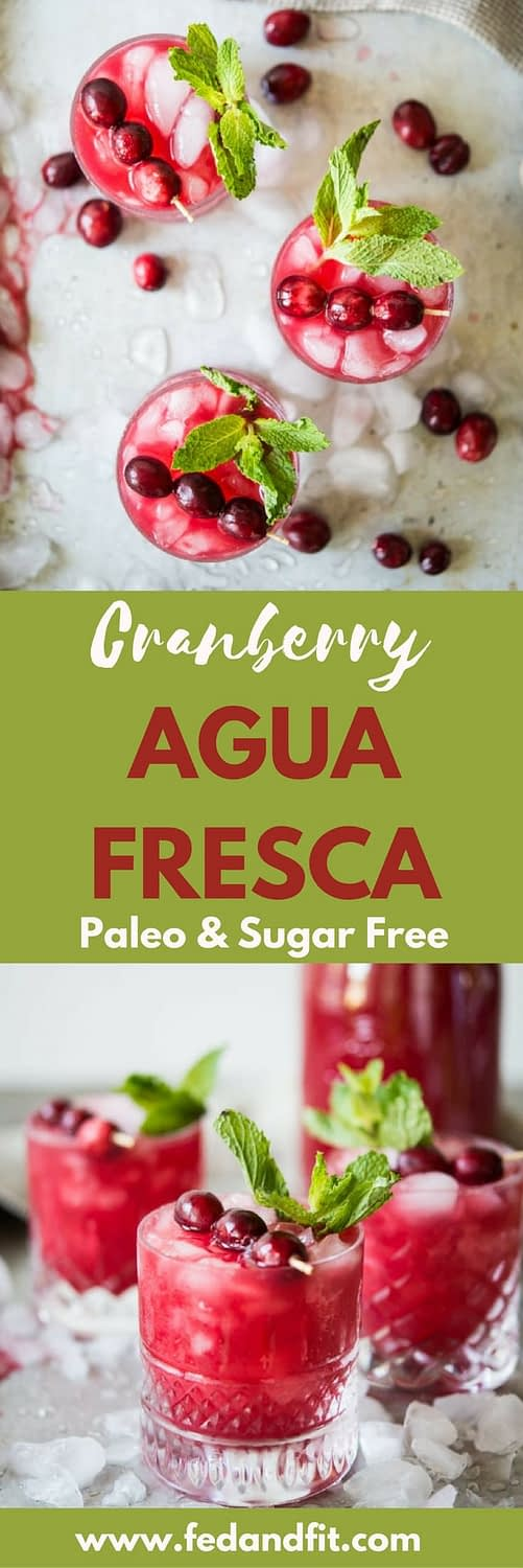This cranberry agua fresca is made with fresh blended cranberries and can be made into a festive non-alcoholic drink, cranberry mimosas, or even a white winter sangria!