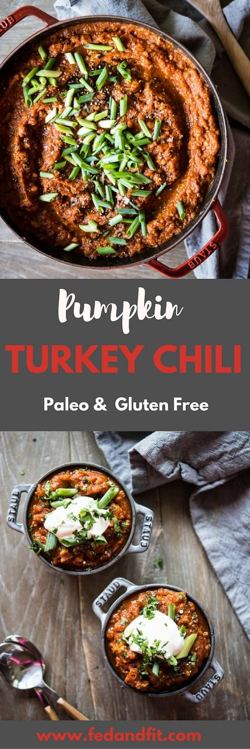 This Paleo Pumpkin Turkey Chili recipe is healthy, easy, and Whole30-friendly! It is the perfect fall meal to feed a huge crowd.
