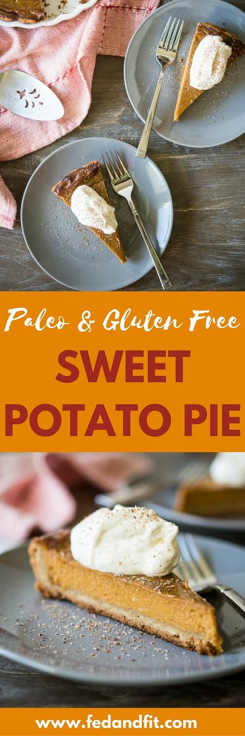 This Paleo sweet potato pie is a decadent, silky smooth pie made with a few sweet potatoes, plenty of butter, coconut sugar, vibrant spices, and coconut milk. It is the perfect gluten free pie for your Thanksgiving and Christmas celebrations!